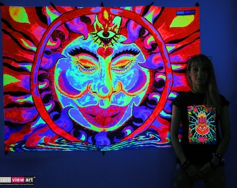 Chillin' Sun UV Black Light Fluorescent Glow Psychedelic Psy Goa Trance Art Backdrop Wall Hanging Home Club Party Festival Deco 3rd Eye Fire