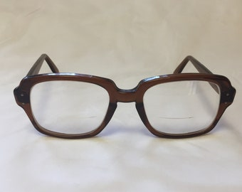 1a3540d631 Vintage 1960 s USS Military Issue Brown Square Eyeglasses Frames 4.5-5.75