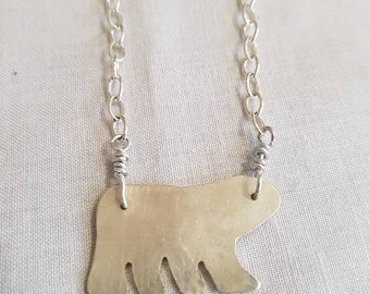 Sterling silver polar bear necklace.  One of a kind.  Handmade