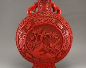 N7435 Vintage Chinese Red Lacquerware High Relief Vase w Qianlong Mark