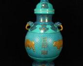 N7835 Beautiful Chinese Gilt Gold Turquoise Glaze Porcelain Jar w Qianlong Mark