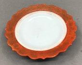 N8587 Chinese Gilt Gold Iron Red Glaze Porcelain Plate w Qianlong Mark