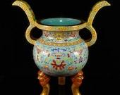 N7513 Chinese Gilt Gold Enamel Porcelain Big Incense Burner w Qianlong Mark
