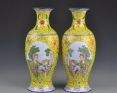 N8310 A Pair Chinese Qing Dynasty Bronze Cloisonne Vases w Qianlong Mark