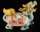 N7810 Superb Chinese Gilt Gold Famille Rose Porcelain Dragon Turtle Statue w Qianlong Mark
