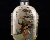N04940 Vintage Chinese Peking Glass Inside Painting Big Snuff Bottle - Figure Bamboo w Agate Stopper