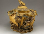 N7564 Chinese Qing Dynasty Spot Copper Relief Big Pot w Lotus Flower Frog w Qianlong Mark