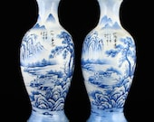 N7572 A Pair Chinese Red Copper Blue Enamel Vases w Qianlong Mark