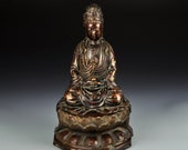 N8338 Vintage Chinese Gilt Gold Red Copper Kwan-yin Statue w Qianlong Mark