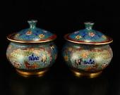 N7911 A Pair Chinese Gilt Gold Red Copper Cloisonne Tea Caddies w Qianlong Mark