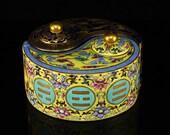 N7828 Chinese Gilt Gold Famille Rose Porcelain Bagua Teapot w Qian Long Mark