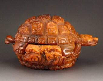 N4958 Vintage Chinese Ox Horn Sea Turtle Statue