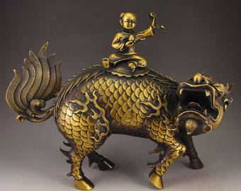 N4875 Vintage Chinese Brass Statue - Kylin & Ruyi Kid