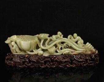 N5123 Openwork Chinese Qing Dynasty Hetian Jade Lotus & Kids Statue