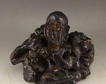 N4917 Vintage China Zitan Wood Root Longevity Old Man Statue