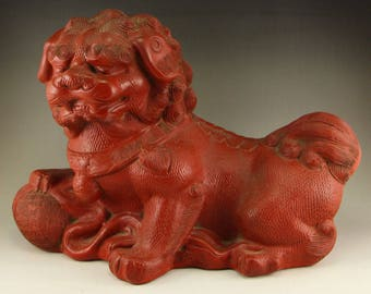 N4928 Chinese Qing Dynasty Red Lacquerware Lucky Lion Statue