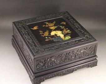 N4903 Chinese Zitan Wood Inlay Shells & Gems Jewelry Box