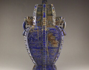 N4853 Vintage Chinese Lapis Lazuli Dragons Head Vase