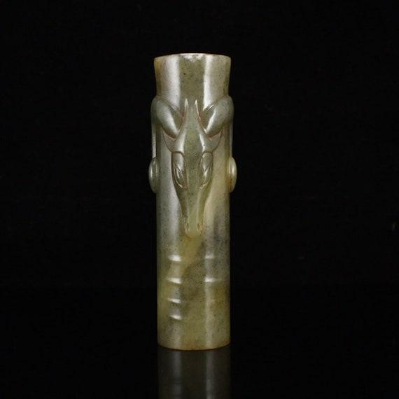 N09579 Vintage Chinese Hetian Jade Sheep Head Tube