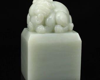 N4858 Chinese Natural Hetian Jade Unicorn Seal