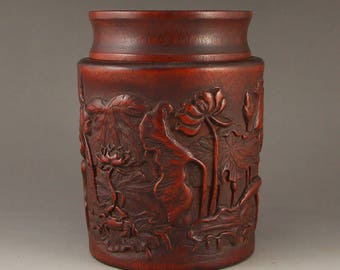 N4924 Vintage Chinese Bamboo Root Tea Caddy