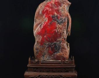 N4953 Chinese Natural Chicken Bloodstone Flower & Bird Statue w Certificate