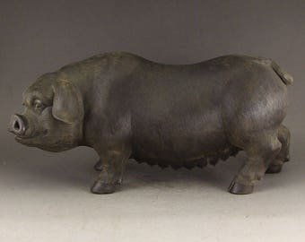 N4950 Vintage Chinese Yixing Zisha Pottery Fortune Pig Statue