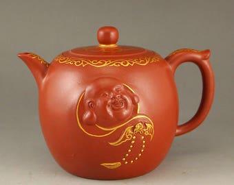N4909 Chinese Gilt Gold Yixing Zisha Clay Teapot w Buddha