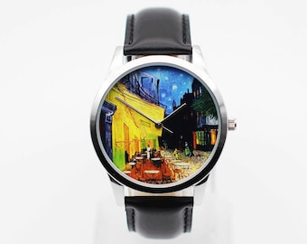 Van Gogh Cafe Terrace,Watch, Vintage Style Leather Watch, Boyfriend Watch, Unisex Watch, Leather Watch Active
