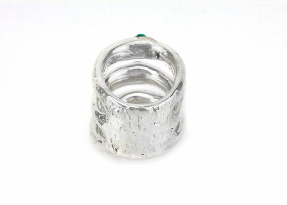 25th anniversary gift for wife square 925 sterling silver ring abstract silver ring chunky silver ring for women lightweight jewelry