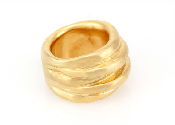 Super Brede gouden bruiloft band brede gouden ring dikke gouden | Etsy AM-61