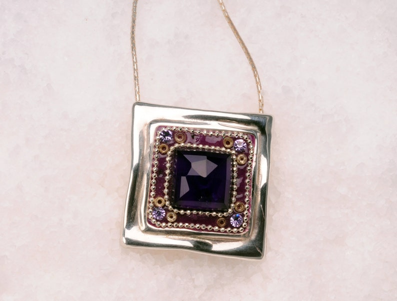 925 sterling silver necklace Square Amethyst pendant Necklace bridesmaids necklace