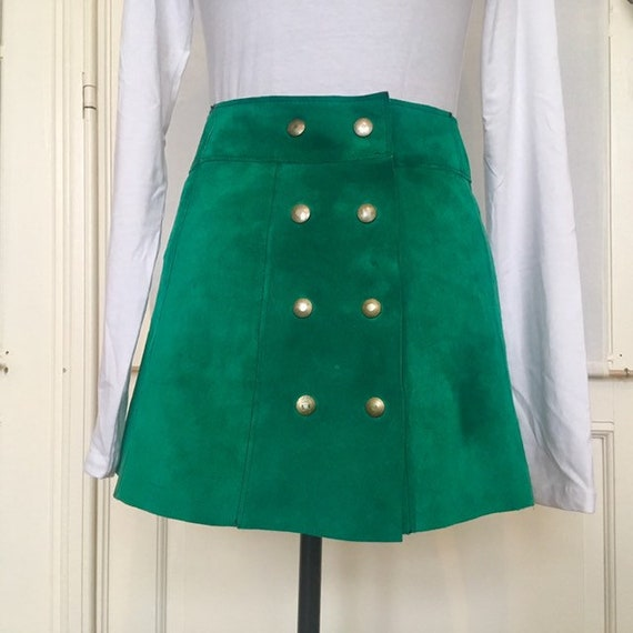 Gorgeous Vintage 60's - 70's Emerald Green Suede M