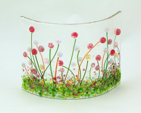 Glass Screen-Fused Glass Flower Meadow Picture-Daisy Cream Flowers-Fused Glass Art-Home Decor-New Home Gift-Mothers Day Gift JBT852