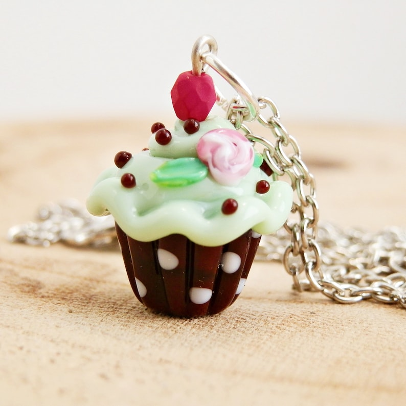 Handmade lampwork glass cupcake necklace high tea necklace image 0