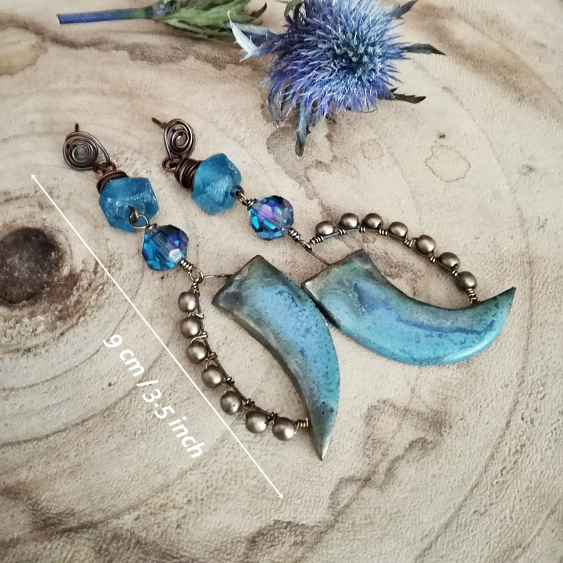 ceramic dagger blue earrings artisan earrings cosplay blue ceramic fairy earrings rustic witchy earrings Blue witchy earrings
