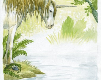 Original drawing - Unicorn at source