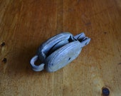Small Wood Barn Pulley Block and Tackle Vintage Cast Iron