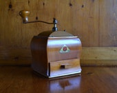 Pristine De Ve Coffee Grinder Mill Vintage from Holland with Copper Top