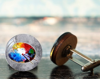 Vintage Color Wheel Cufflinks vintage French color wheel gift for Art Teachers Students Retro artist Cufflinks Artists Cufflinks