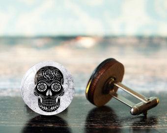 gothic cufflinks , skull cuff links , steampunk cufflinks , pirate cufflinks , sugar skull cufflink , mexico cufflinks