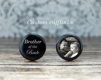 Brother of the bride cufflinks , gift for brother , brother wedding gift , custom cufflinks , brother cufflinks , brides brother