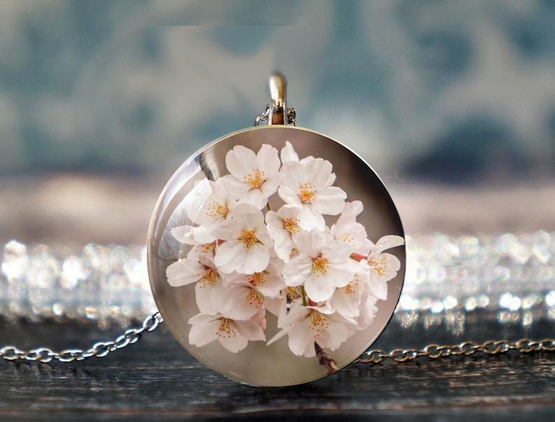 sakura necklace blossom necklace botanical necklace blossom jewellery pink flower necklace flower jewellery
