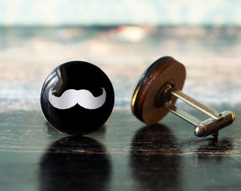 mustache cufflinks , father's day gift , wooden cufflinks , men cufflinks , dads cufflinks