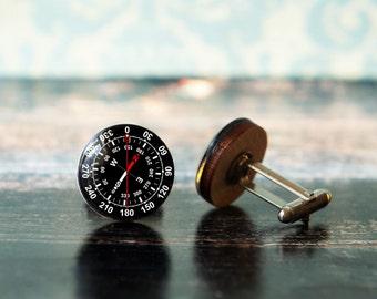 compass cuff links , wedding cufflinks , groom cufflinks , wood cufflinks , gift for traveler