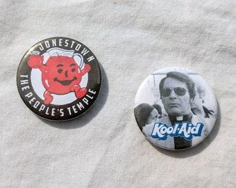 Jonestown cult badges / buttons / pins