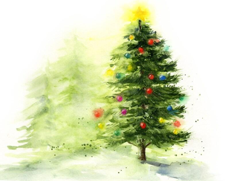 Wintery Lit Christmas Tree Watercolor Art Spruce Tree Etsy