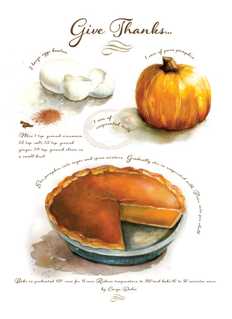 Comes with 8 prints Custom recipe art created for your favorite family recipes