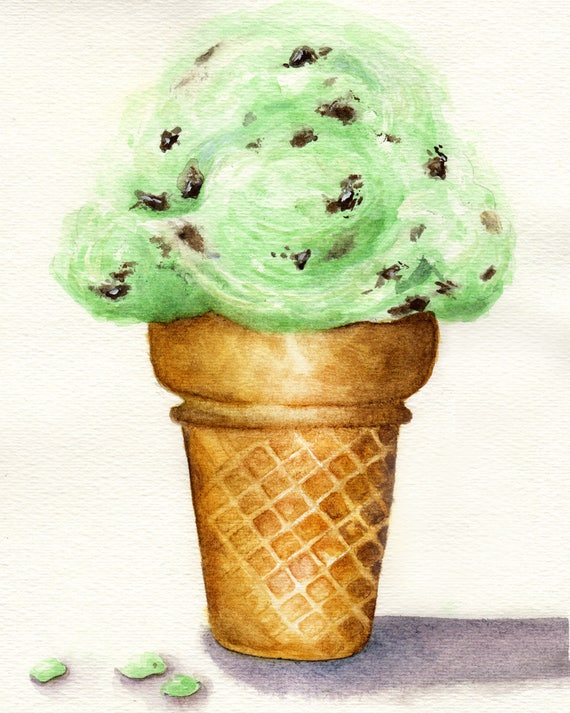 Mint chocolate chip ice-cream cone watercolor print of ...
