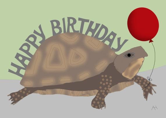 Turtle Holding A Balloon Happy Birthday Card Etsy